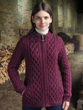 Plated Cardigan with Celtic Zip - Purple Mix