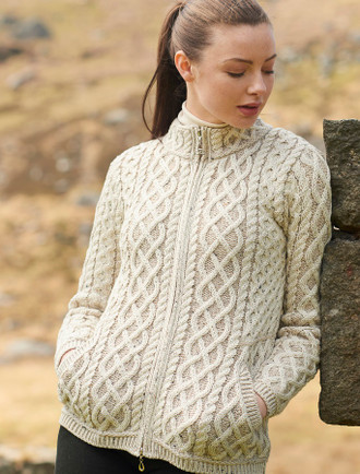 Plated Cardigan with Celtic Zip - Oatmeal Mix