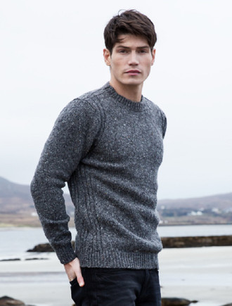 Crew Neck Sweater with Ribbed Sides - Greystone