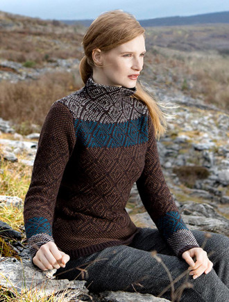 Mock Neck Sweater with Tapestry Pattern - Peat