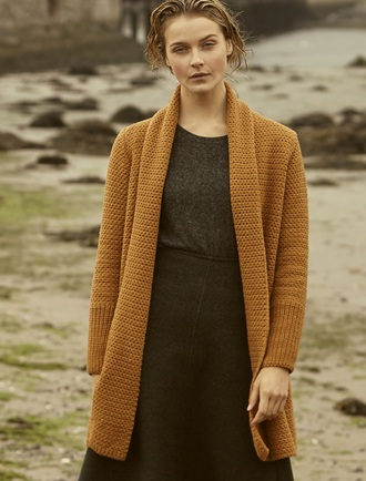 Textured Merino Coatigan - Golden Ochre