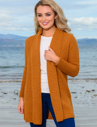 Textured Merino Cardigan - Golden Ochre
