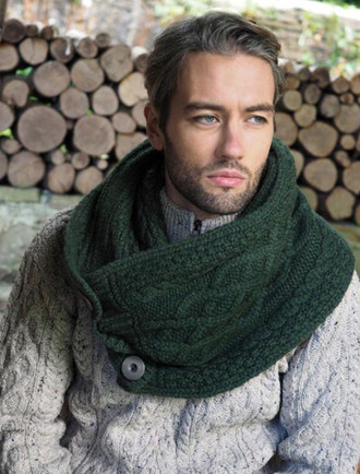 Super Soft Aran Snood with Buttons - Green