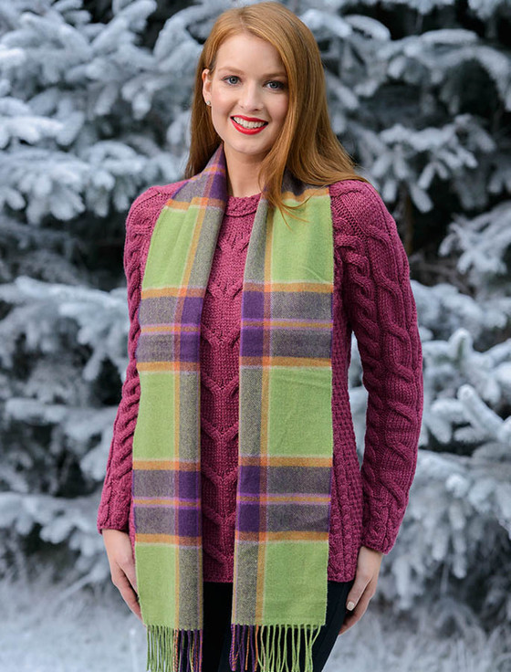 Fine Merino Plaid Scarf - Green Purple Plaid