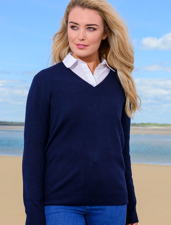 Womens Lambswool V-Neck Sweater - Navy