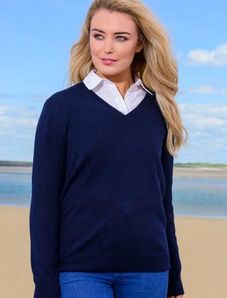 Womens Lambswool V-Neck Sweater - Navy