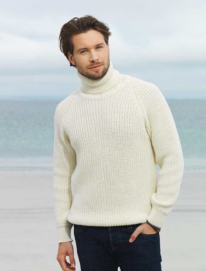 Fishermans Merino Ribbed Turtleneck Sweater Irish