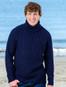 Fisherman's Merino Ribbed Turtleneck Sweater - Navy