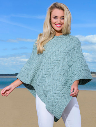 Super Soft Cable Stitch Poncho - Seafoam Green