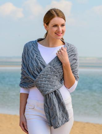 Super Soft Cabled Shawl - Ocean Grey