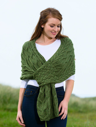 Super Soft Cabled Shawl - Meadow Green