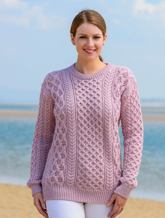 Natural Merino Wool Aran Sweater - Pink Haze