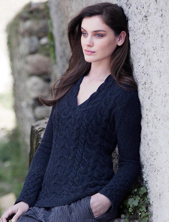 Wool Cashmere Cable V-Neck Sweater - Rich Navy