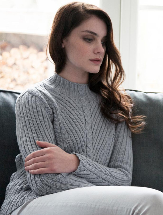 Merino Funnel Neck Ribbed Sweater