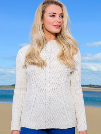Merino Funnel Neck Ribbed Sweater - Natural White