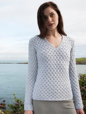 Open Neck Merino Trellis Sweater