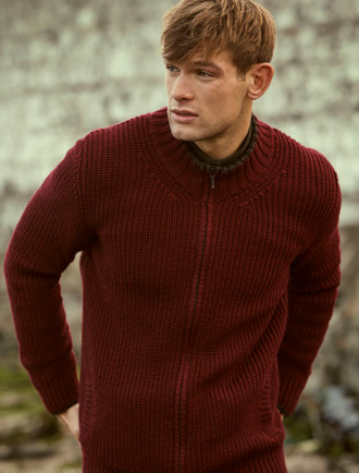 Men's Merino Ribbed Cardigan - Claret