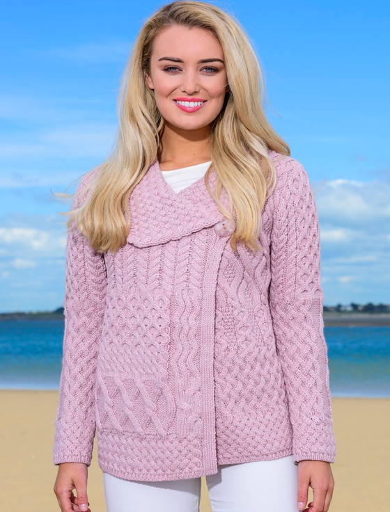 Super Soft Aran Single Button Cardigan - Dusty Pink