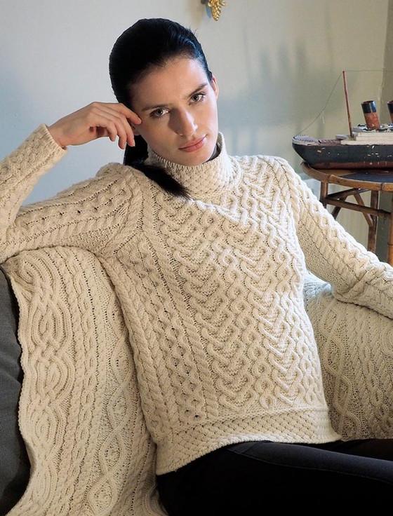 Super Soft Polo Neck Aran Sweater