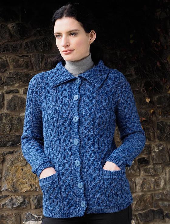 Ladies Merino Button Cardigan - Blue Marl