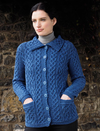 Ladies Merino Button Cardigan - Blue Marl