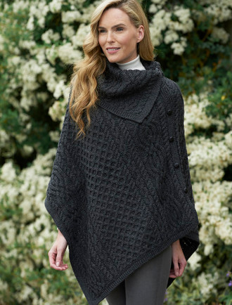 Ladies Merino Button Poncho - Charcoal