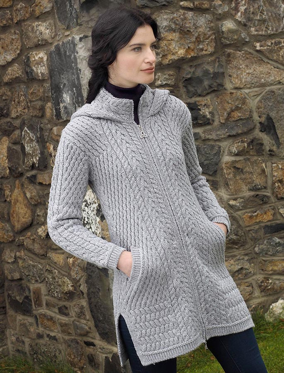 Merino Hooded Aran Coat - Soft Grey
