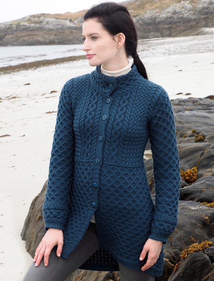 Ladies Merino Button Coatigan Aran Sweater Market