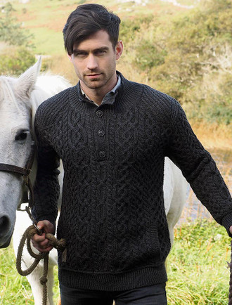 Merino Button Neck Aran Troyer