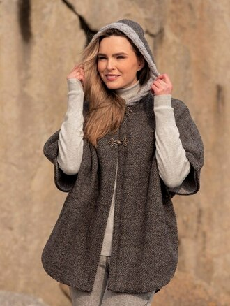 Ladies Tweed Cape with Aran Collar- Charcoal