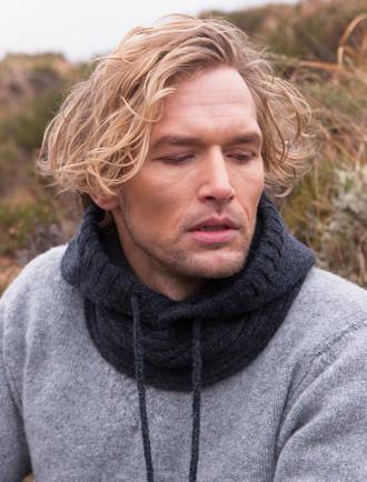 Wool Cashmere Hood - Charcoal