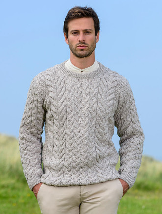 Super Soft Aran Crew Neck Sweater - Toasted Oat