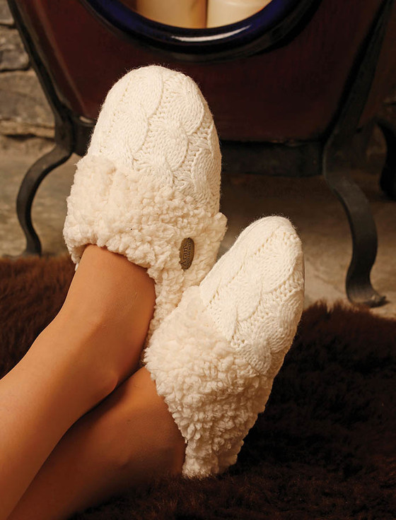 Irish Adult Slippers - Aran White
