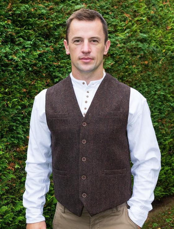 Tweed Herringbone Waistcoat - Brown