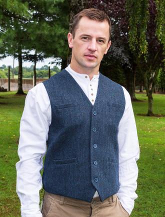 Tweed Herringbone Waistcoat - Navy