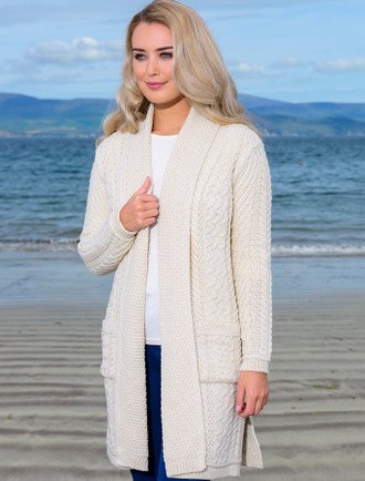 Drape Front Aran Shawl Cardigan - Natural White