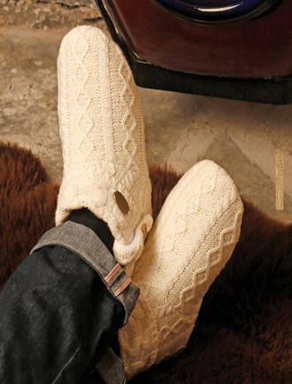 Irish Cable Knit Wool Adult Booties