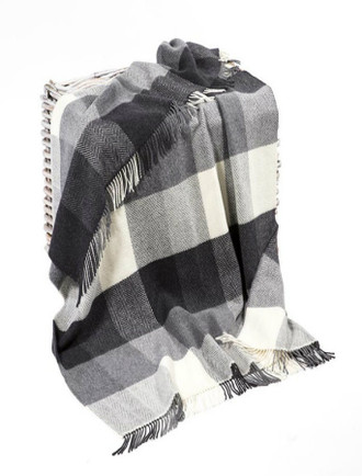 Cashmere Wool Throw - Black White Grey