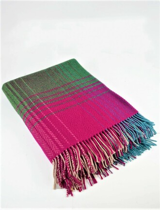 Cashmere Wool Throw - Pink Blue Green