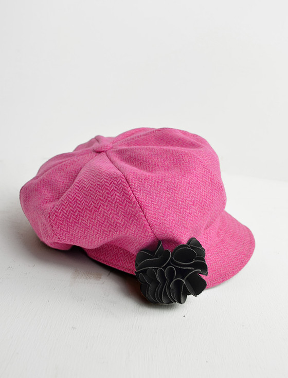 Ladies Tweed Newsboy Hat - Baby Pink