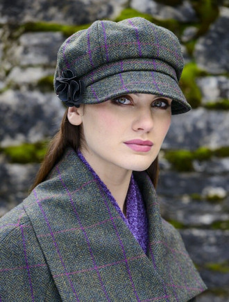 Ladies Tweed Newsboy Hat - Green/Pink/Plum