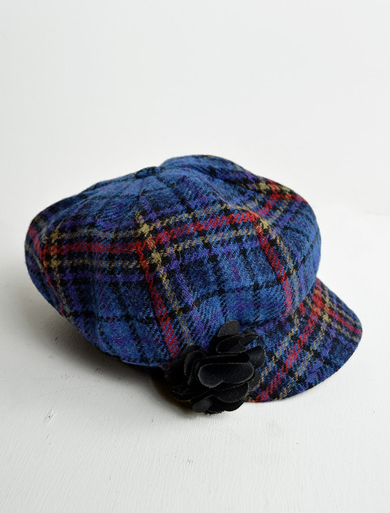 Ladies Tweed Newsboy Hat - Camel/Red/Blue