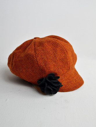 Ladies Tweed Newsboy Hat - Rust