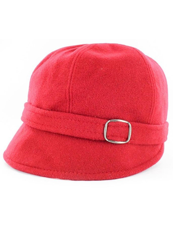 Ladies Tweed Flapper Cap - Plain Red