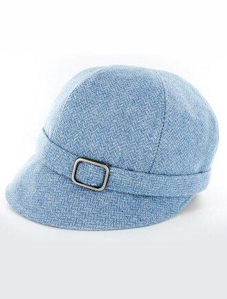 Ladies Tweed Flapper Cap - Baby Blue