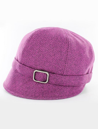 Ladies Tweed Flapper Cap - Magenta