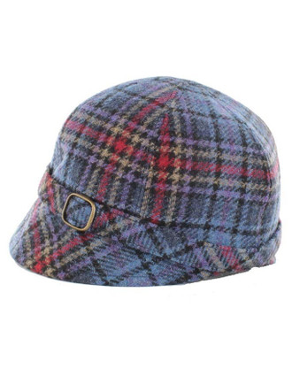 Ladies Tweed Flapper Cap - Blue Red Cream Plaid