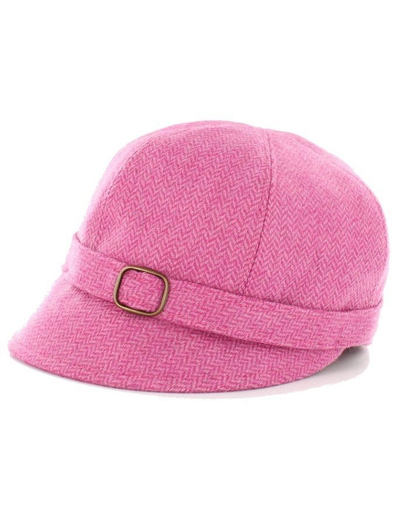 Ladies Tweed Flapper Cap - Baby Pink