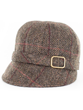 Ladies Tweed Flapper Cap - Brown with Red