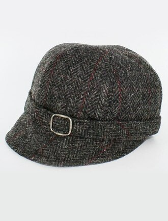 Ladies Tweed Flapper Cap - Charcoal with Red